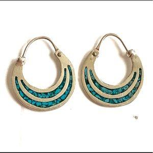 Taxco Turquoise Sterling Silver Hoop earrings 925